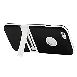 Mini - Frosted TPU Case with Detachable Plastic Frame & Holder for iPhone 6 , Color-White