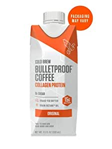 Bulletproof Cold Brew Coffee Plus Collagen, Keto Friendly, Sugar Free, with Brain Octane oil and Grass-fed Butter, (Original) (12 Pack)