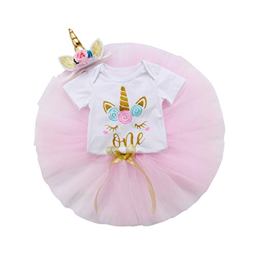 3PCS Unicorn Outfit Newborn Baby Girls 1st Birthday Romper + Tutu Skirt Dress + Headband Clothing Set -
