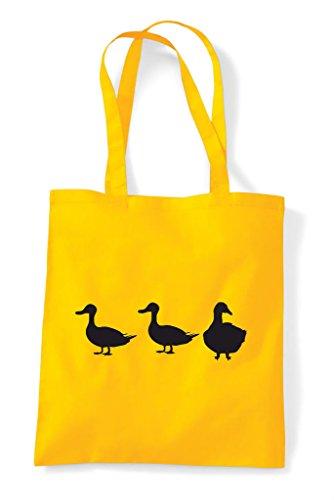 Goose Cute Shopper Duck Bag Game Themed Funny Animal Tote Children's Silhouette Yellow wIwBcqdv