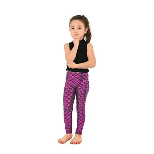 Yiwbeij Rose Red Mermaid Fish Scales Leggings Pants for Junior Girls S]()