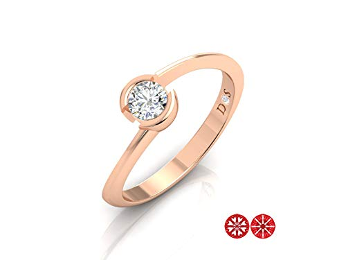 Semi Bezel Solitaire Setting - 14k Gold with 0.25 Carats Glossy Finish Semi Bezel Set Solitaire Ring-RF1390 (G Color, SI2 Clarity)