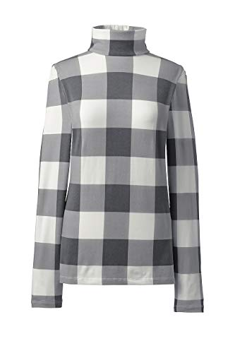(Lands' End Women's Plus Size Lightweight Fitted Turtleneck Layering, 3X, Ivory/Charcoal Check)