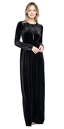 Tabeez Women's Casual Babydoll High Neck Velvet Flared Maxi Dress with Long Sleeves (Made in The USA) (Black, X-Large)