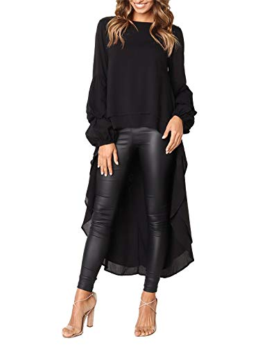 - MISSLOOK Women's Lantern Long Sleeve Tops High-Low Hem Tunic Round Neck Asymmetrical Irregular Hem Casual Blouse Shirt Dress - Black S