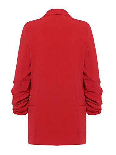 Lungo Outwear Maglia Monocromo Lunga Bavero Giovane Manica Business Moda Rot Giacca Blazer Donna Elegante Autunno A q4BBa0