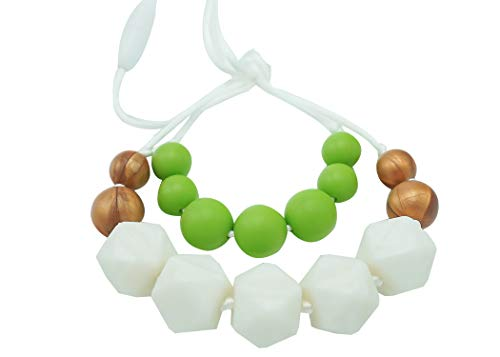 Baby Teething Necklace For Mom To Wear | Great New Mom Present | Nursing Necklace Silicone Teething Beads | Silicone Chewing Jewelry For Breastfeeding Babies Not Amber | Teething Rings For Babies
