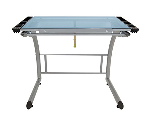 Offex Home Triflex Drawing Table, Sit to Stand Up Desk, Silver/Blue Glass