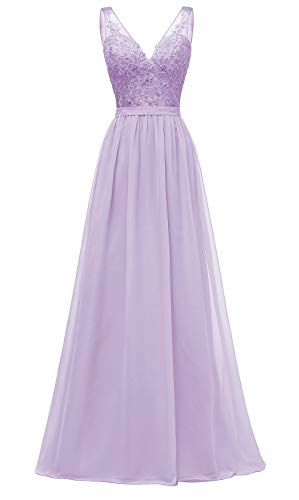 Women's A Line V Neck Lace Bodice Chiffon Prom Dresses Long Formal Evening Gown Size 14 Lilac