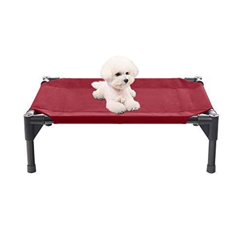 Veehoo Elevated Dog Bed, Portable Raised Pet Cot, Waterproof & Breathable Mat, No-Slip Feet, Durable 600D Oxford Fabric, Indoor or Outdoor Use, Type A | Small | Red