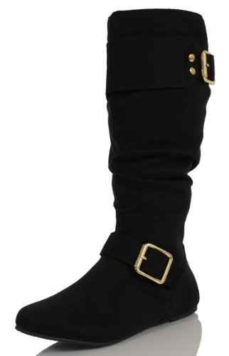 d04f3bf7e63d9 MFS Girl's Black Faux Suede Slouchy Buckle Knee High Riding Flat Boots  Trust 9