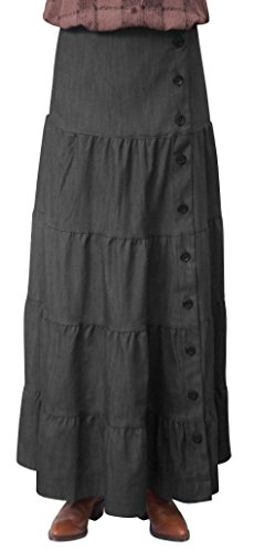 BabyO Women's Long Ankle Length Tiered Denim Prairie Skirt-BLK-XL