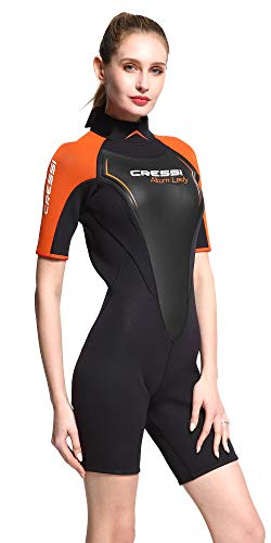 Cressi Damen Altum Lady Wetsuit Shorty Neoprenanzug Premium Neopren 3mm, Schwarz/Orange, X-Large