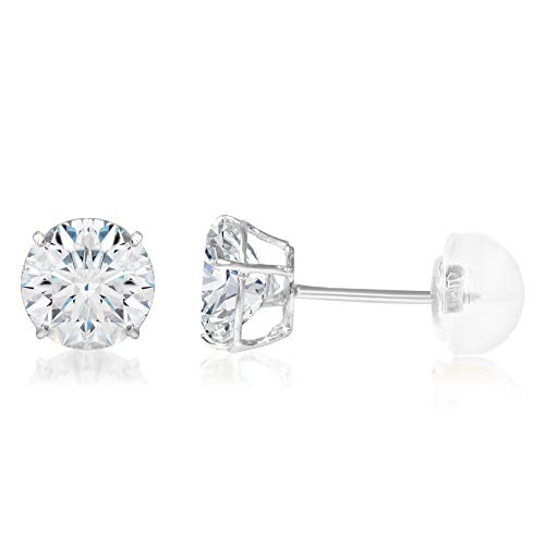 (Ioka - 14K White Gold Round Solitaire Cubic Zirconia CZ Stud Push Back Earrings - 1.25ct (7mm))