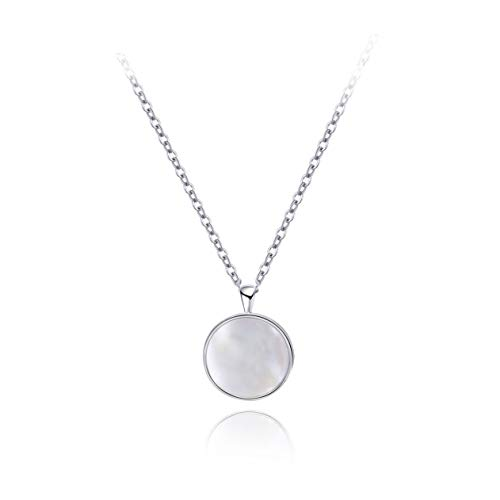 S.Leaf Minimalism Round Mother of Pearl Necklace Sterling Silver Circle Disc Pendant Shell Pendant (Silver)