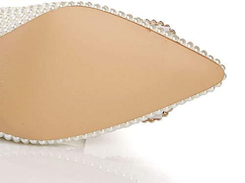 Alto Colore alla Fibbia Dimensioni con con in e 35 Pelle Moda Plateau Bianca Scarpe Sera Tacco da pqxCEwwO8v