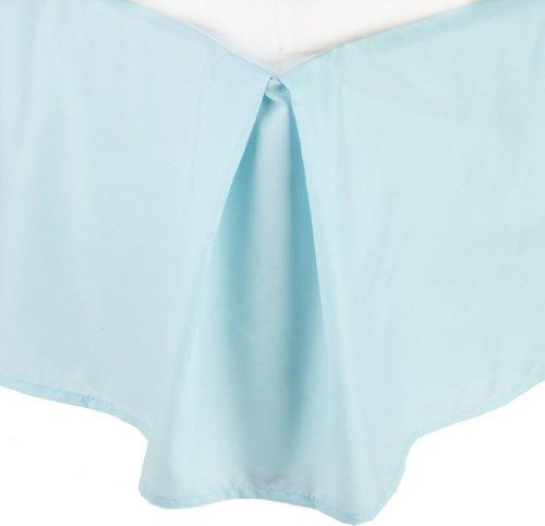 Clara Clark Premier 1800 Collection Solid Bed Skirt Dust Ruffle, Queen, Aqua Light (Bedskirt Light)