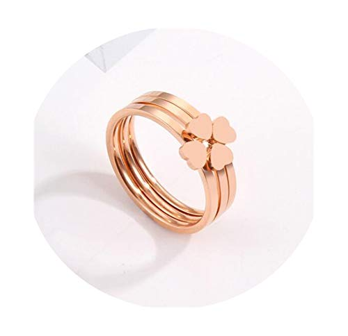 3Pcs/Set Creative Heart Rose Gold Titanium Stainless Steel Rings for Women Fashion Four Leaf Clover Ring ()