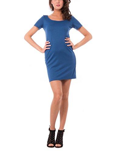 Olivia Abito Tubino con Manica Corta, Vestido para Mujer Azul (INDACO)