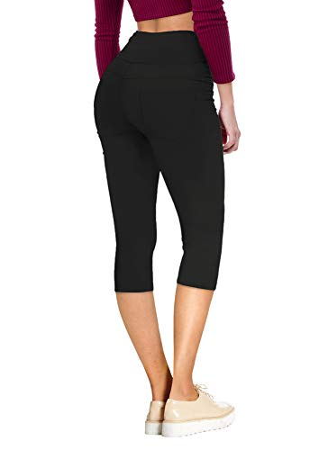 HyBrid & Company Womens Super Stretch 5 Button Skinny Capri Q45074SK Black - Jeans Capri Juniors Skinny