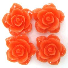 8 26mm Synthetic Coral Carved Rose Flower Pendant Bead Pink Orange (Coral Carved Rose Flower)