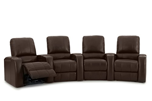 Storm XL850 Home Theater Seats - Brown Leather - Arm Storage - Manual Recline - Curved Row of 4 Chairs