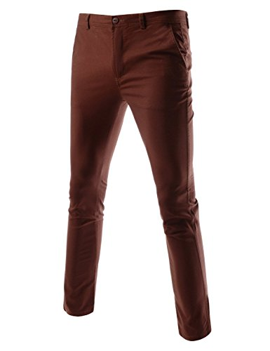 (TheLees (TLP26 Slim Straight Fit Coin Pocket Point Comfy Stretchy Cotton Pants Wine 31W/30L(Tag Size L))