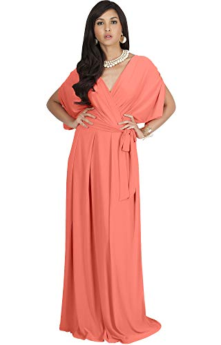 KOH KOH Plus Size Womens Long Formal Short Sleeve Cocktail Flowy V-Neck Casual Bridesmaid Wedding Party Guest Evening Cute Maternity Work Gown Gowns Maxi Dress Dresses, Coral/Pink Peach 2XL 18-20