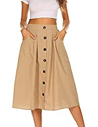 531aa811e9 Womens Casual Front Button A-Line Skirts High Waisted Midi Skirt with  Pockets