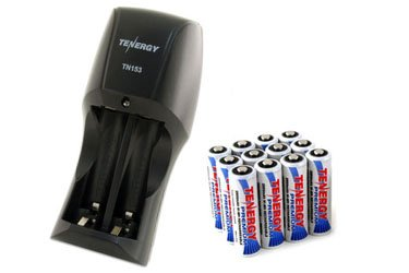 Combo: Tenergy TN153 2-Bay Standard Battery Charger + 12 Premium AA NiMH 2500mAh Rechargeable Batteries