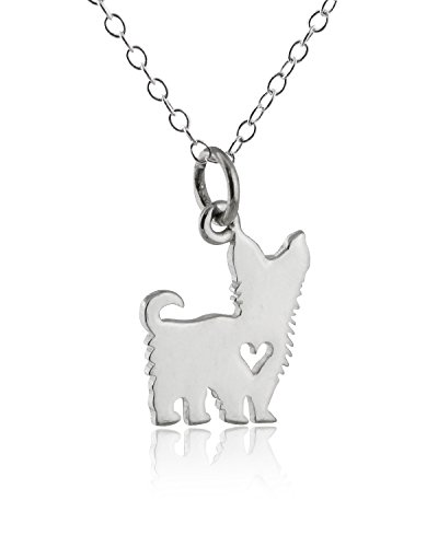 Sterling Silver Yorkshire Terrier Dog with Heart Cutout Pendant Yorkie Necklace, 18