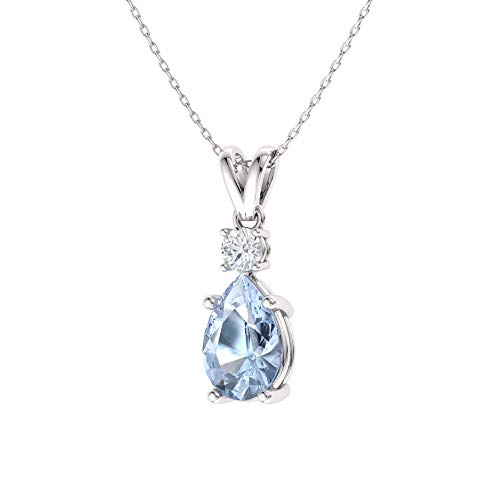 Diamondere Natural and Certified Pear Cut Aquamarine and Diamond Drop Petite Necklace in 14k White Gold | 0.39 Carat Pendant with Chain