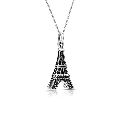 Amour Necklace - Antiqued Eiffel Tower Pendant Sterling Silver Necklace 16 Inches