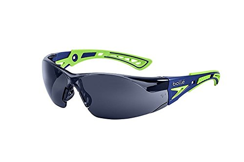 Bolle Safety Rush+ Safety Glasses, Blue & Green Frame, Grey Lenses