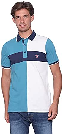 Bardise Embroidered Logo color-Block cotton Polo Shirt for Men - Multi color