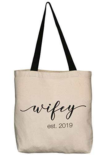 Wifey Wedding Tote Bag | Bridal Shower Gifts | Reusable Shopping Bag | Bride To Be | Honeymoon(Wifey 2019)]()