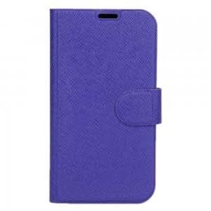 Diagonal Plaid Leather Case for Samsung I9500 Dark Blue