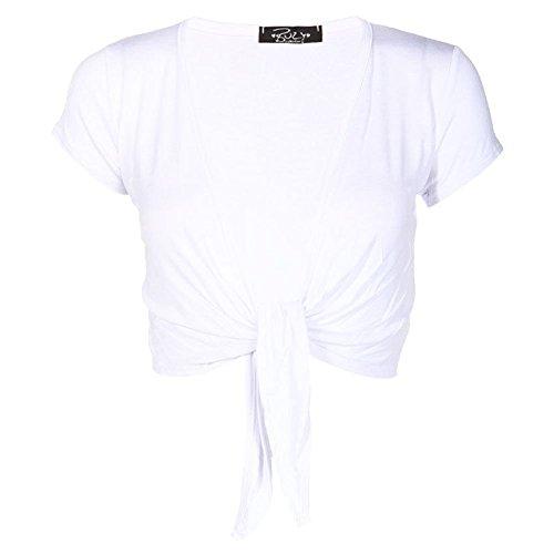 Janisramone mujeres señoras gorra manga lazo frontal recortada chaqueta de punto todo Bolero Blanco