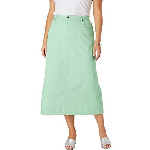 - Jessica London Women's Plus Size Classic Cotton Denim Long Skirt - Crystal Jade, 12