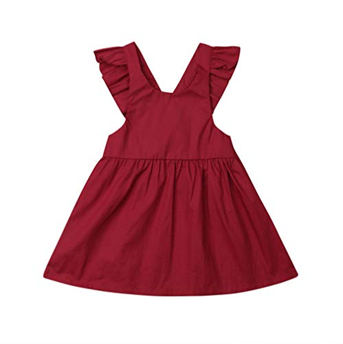 Karuedoo Baby Girls Suspender Skirt Infant Toddler Ruffled Casual Strap Sundress Summer Outfit Clothes (4-5T, Wine Red)