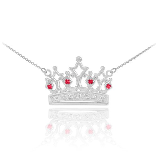 Dainty 14k White Gold Ruby and Diamond Tiara Crown Pendant Necklace, 18'' by Crown Pendants