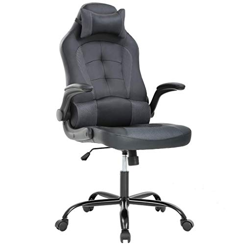 PC Gaming Chair Ergonomic Racing Heavy Duty Office Chair Video Game Chair, Grey PU Leather Chic Desk Chair, Lumbar Support Flip Up Arms Headrest Swivel Rolling Adjustable Best Home Office Chair