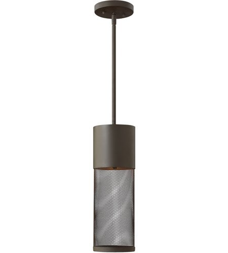 Outdoor Pendant 1 Light with Buckeye Bronze Stainless Steel Drum Mesh Shade Aluminum LED 5 inch 15 -