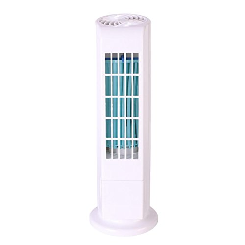 , Mini Portable USB Cooling Air Conditioner Purifier Tower Bladeless Desk Fan (White) ()