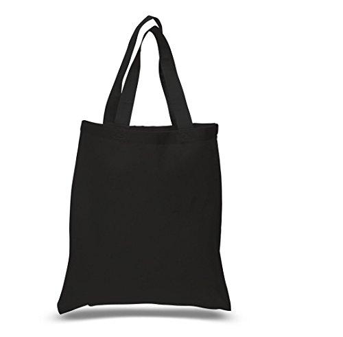 """(BLACK Color) Wholesale 100% Cotton Plain Tote Bags, Cheap Promotional Cotton Tote Bag, size 15""""W x 16""""H by ShopinUSA (Black, 1)"""