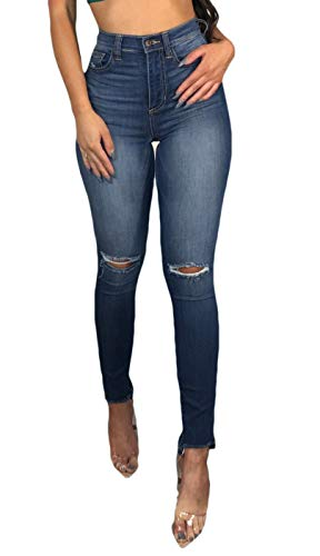 Women's Juniors Distressed Denim Jeans High Waisted Stretch Ripped Skinny Jegging Pants,8,Dark Blue