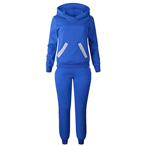 This is an Updrade Suit,2018 Casual Patchwork Sweat Pants +Hooded Sweatshirts 2Pcs Suit,Blue,S