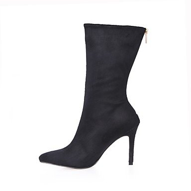 Velvet US8 Dress Toe EU39 CN40 Black For amp; Mid Evening Boots 5 Shoes Calf Winter Boots 5 Women's Fashion Pointed Party Fall UK6 RTRY Boots SETzH1qUwW