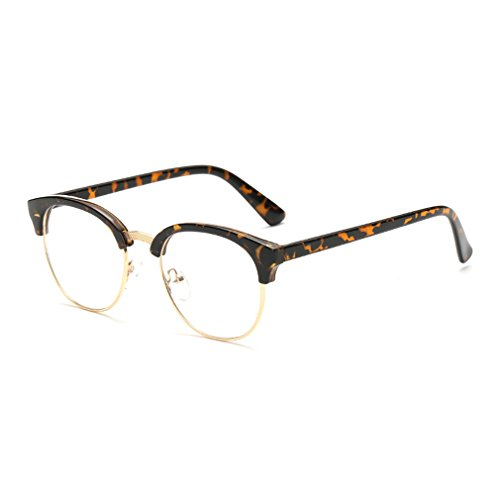 LOMOL Fashion Retro Personality Transparent Lens Semi-rimless Comfortable Myopia Frame - Eyewear List Italian Brands