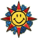 Flower Power Smiley Face Boho Hippie Retro Love Applique Iron-on Patch New S-717 Handmade Design From Thailand...